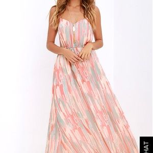 Coral maxi dress perfect for summer weddings!